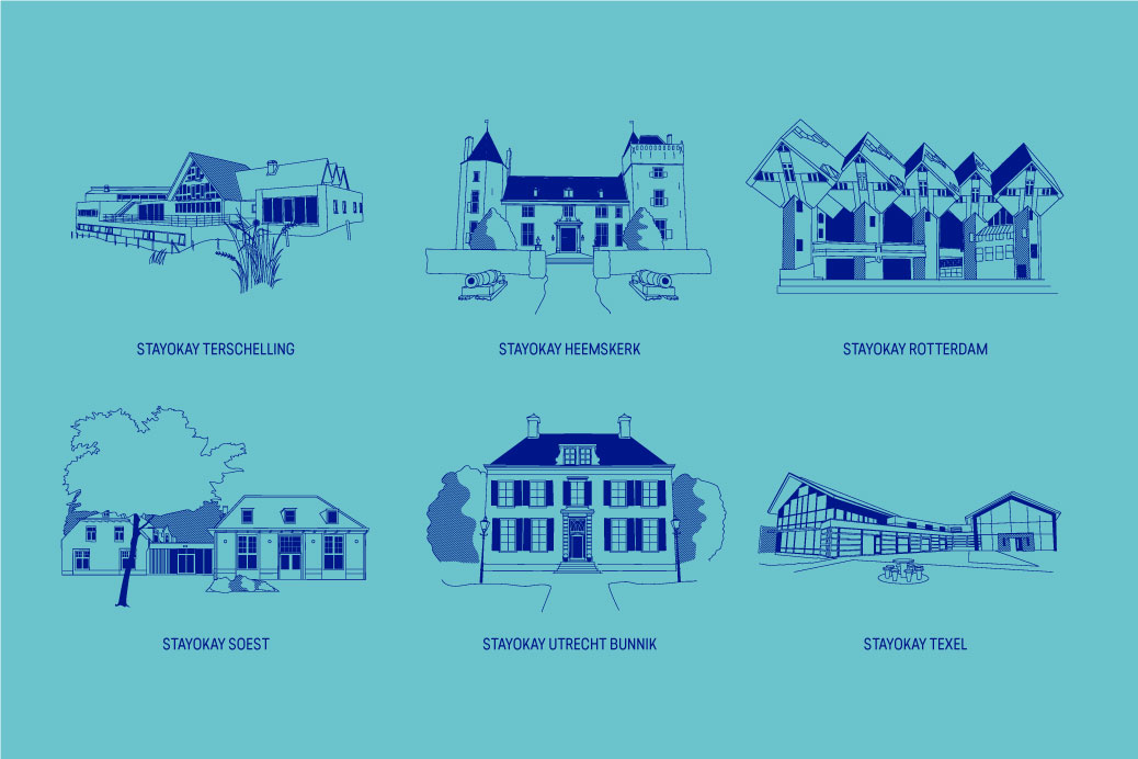 illustration icon serie stayokay hostels buildings