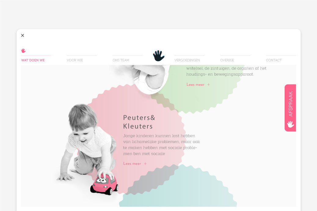 kinderfysiotherapie amsterdam website ontwerp gui parallax