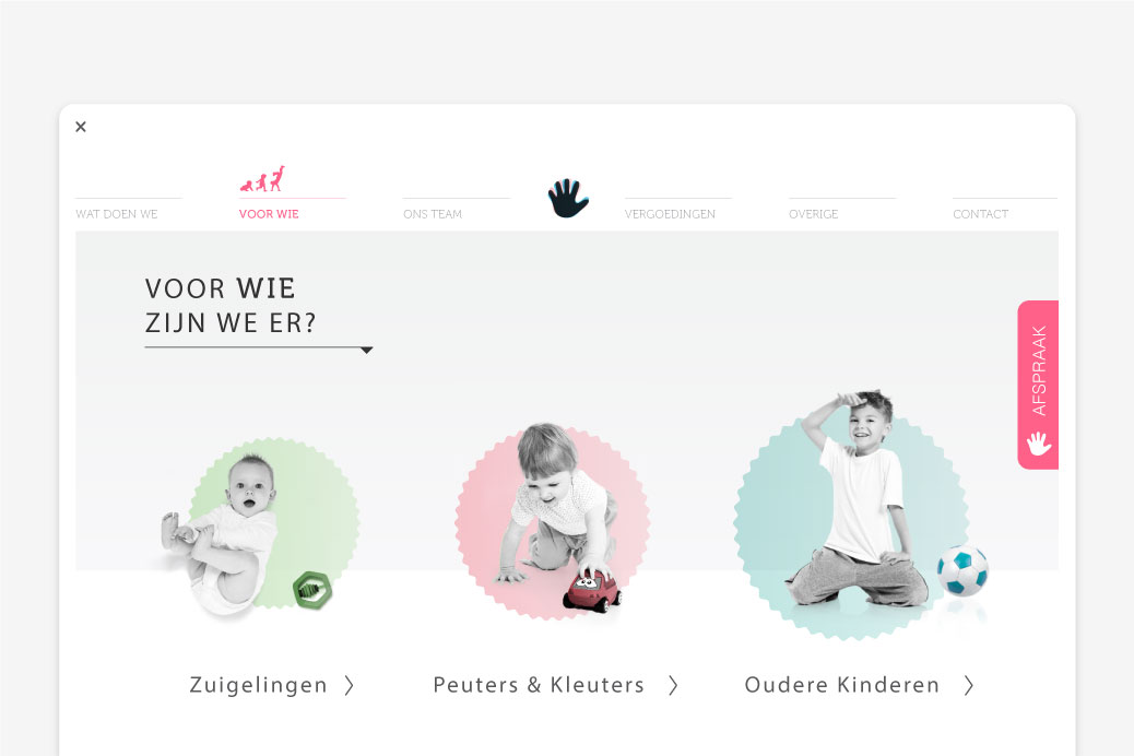 kinderfysiotherapie amsterdam website ontwerp parallax