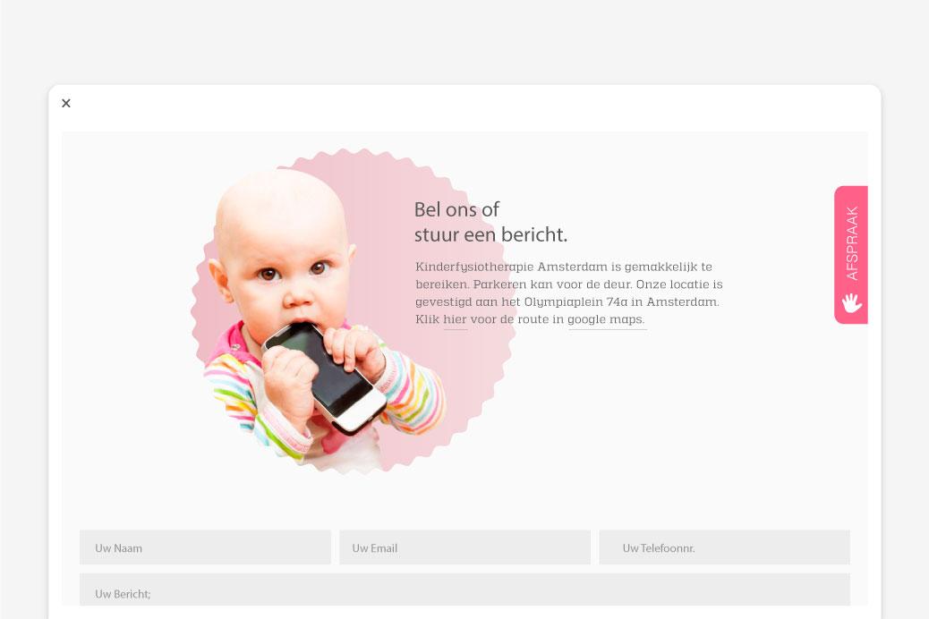 kinderfysiotherapie website ontwerp contact pagina