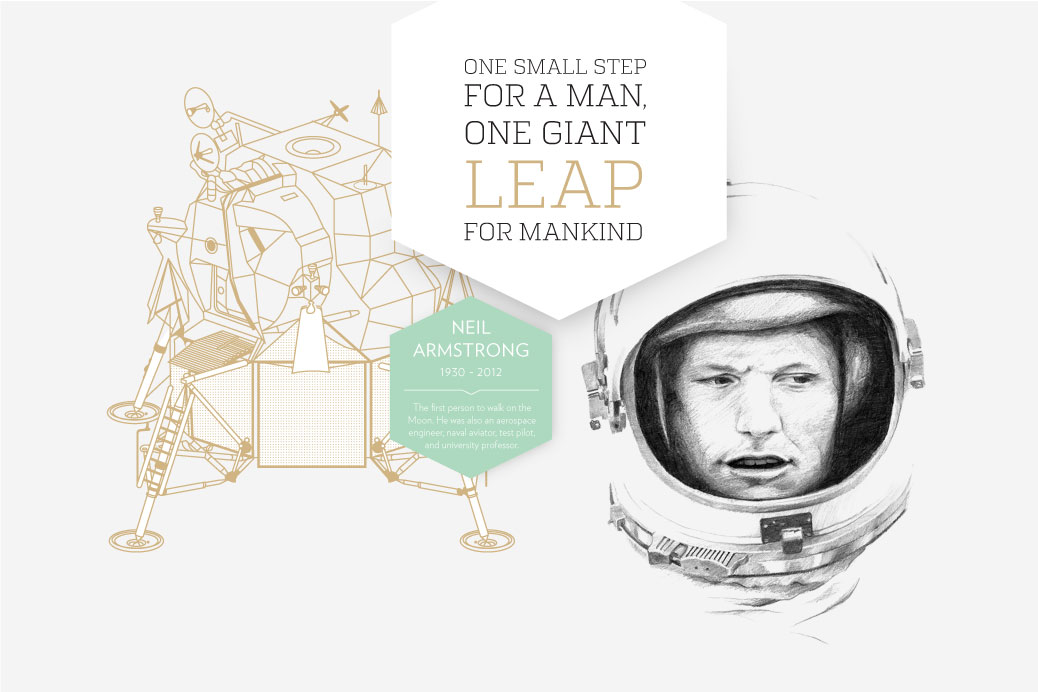 neil armstrong stars and stories illustration graphic design