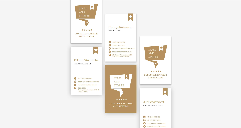 stars and stories visitekaartjes ontwerp