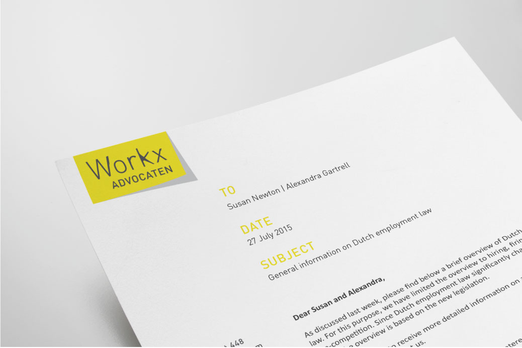 workx advocaten letterhead design