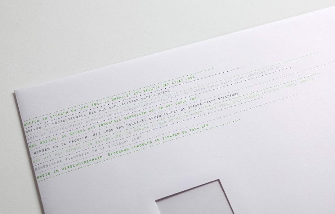 horas it huisstijl ontwerp envelop detail matrix design