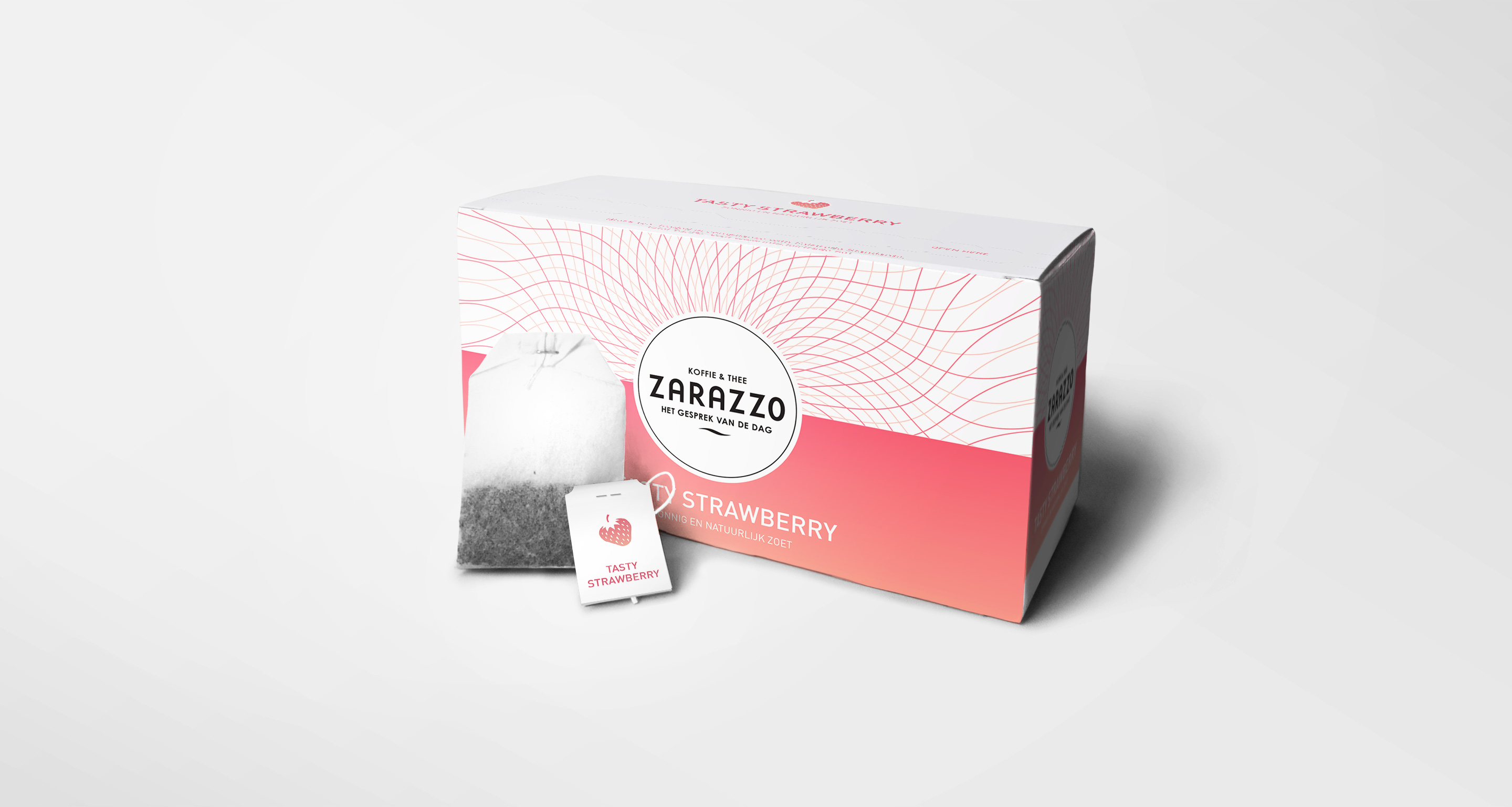 strawberry tea package design zarazzo coffee