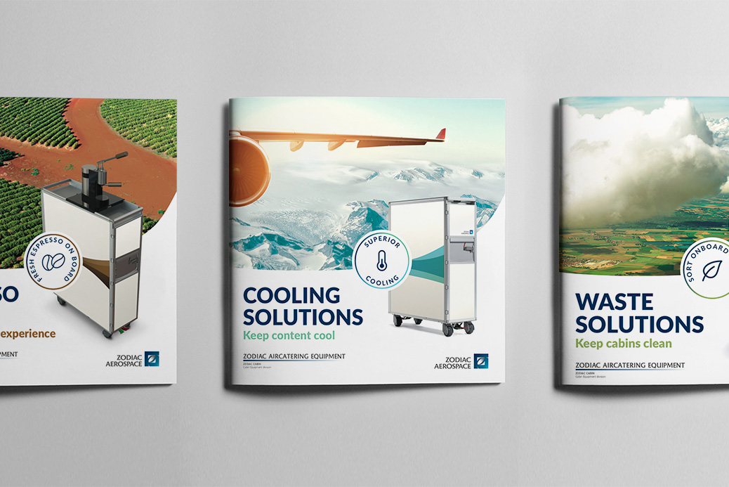 brochures design zodiac aircatering equipment